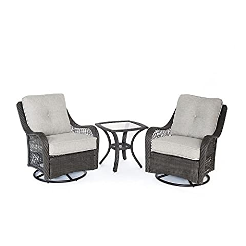 Hanover ORLEANS3PCSW-G-SLV Orleans 3 Piece Swivel Rocking Chat Set, Silver Lining - Orleans Patio Furniture