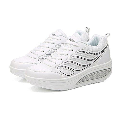 Blanco Toe Gris Spring Sneakers PU Blanco Round Mujer Heel Comfort para Zapatos Color tamaño Fall Flat de 35 Negro vg6wHqxn