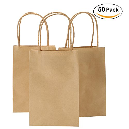 Road 5.25x3.25x8 Inches 50pcs Kraft Brown Paper Bags with Handle, Retail Shopping Bag, Craft Paper Bag, Merchandise Bag, Gift , Party Bag (Recycled Favor Bags)