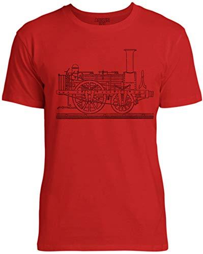 Austin Ink Apparel Train Engine Unisex Womens Soft Cotton Tee, Apple Red, X-Large