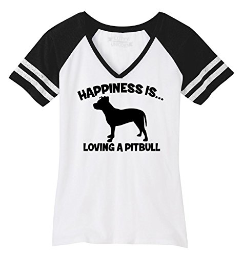 Ladies Game V-Neck Tee Happiness is Loving A Pitbull White/Black 2XL (White Game Ladies Loving T-shirt)