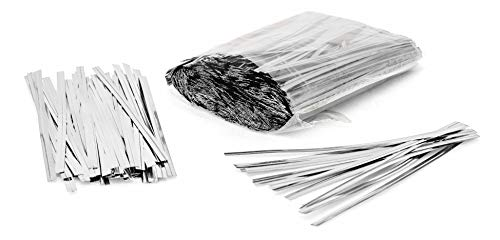 - 1000 Pack of Silver Twist Ties. 4 Inches Bag Ties by Amiff. Metallic Twist Ties for cellophane Bags, Food and Party Bags. Storage & Organization. Packing & Packaging. for Stores and Home.