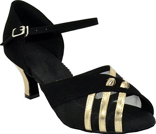 Abby Womens Comfort Practice Latin Custom Heel Down Professionele Danspumps Zwart