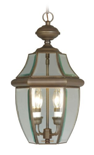 Livex Lighting 2255-07 Monterey 2 Light Outdoor Bronze Finish Solid Brass Hanging Lantern with Clear Beveled Glass by Livex (Monterey Hanging Lantern)
