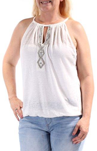 INC Womens Linen Beaded Halter Top White L -