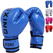 HUIYONG Boxing Series Kids Boxing Gloves,4 OZ for Boys and Girls Age 3 to 12 Years,Synthetic Leather Vivid Col