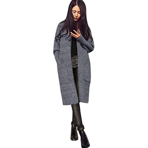 larga Coat de Outwear de manga de Cardigan Rebeca lana suelta Internet punto para mujer Gris 18CwgOxtq