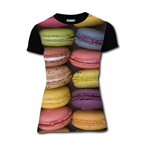 Maca Macarons Dessert T-Shirts Tee Shirt for Women Pregnant Tops Round Black (Halloween Macaron Ideas)