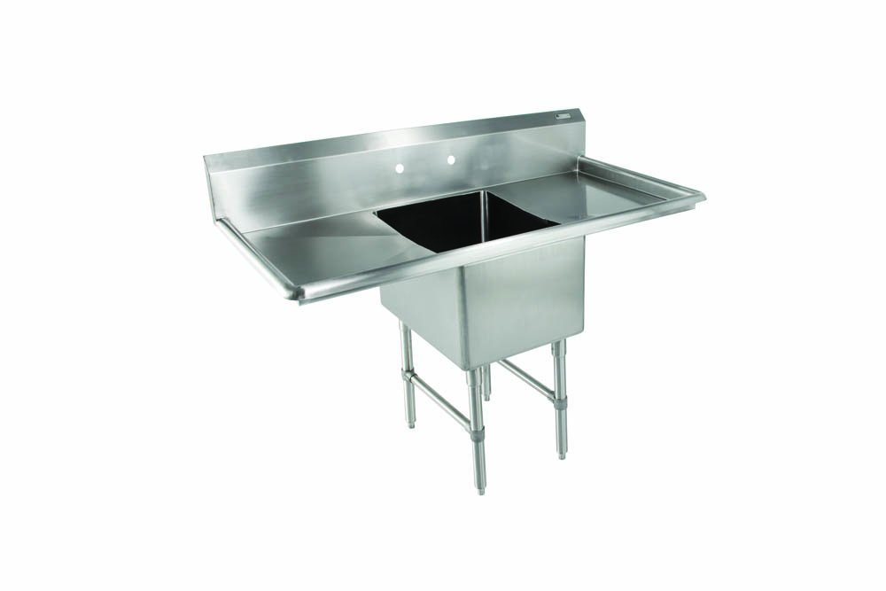 John Boos 1B18244-2D18 B Series 1 Compartment Stainless Steel Sink, 18'' Left and Right Hand Drain Board, 18'' x 24'' x 14'' Bowl