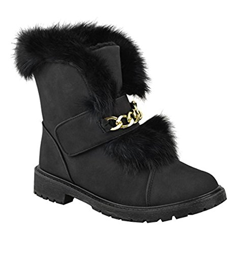 Womens Ladies Flat Low Heel Fur Lined Ankle Boots Winter Grip Sole Chunky Chelsea Biker Shoes Size Black OVNlK