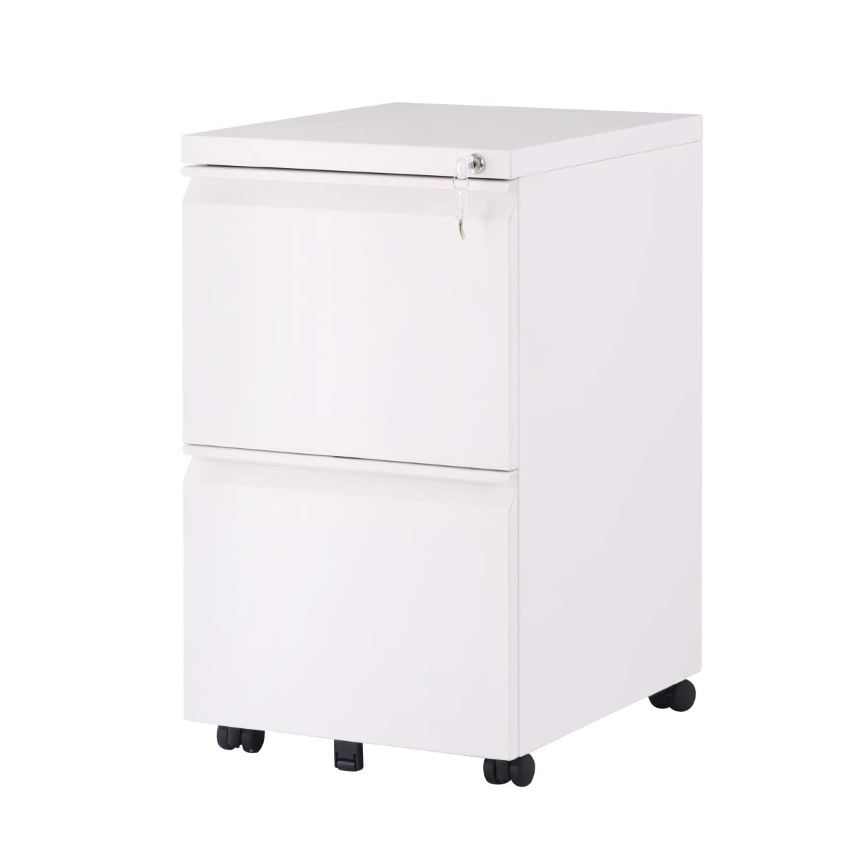 2 Drawer Locking File Cabinet with Wheels, Mobile Metal Filing Cabinet for Home and Office, Steel, White by ModernLuxe
