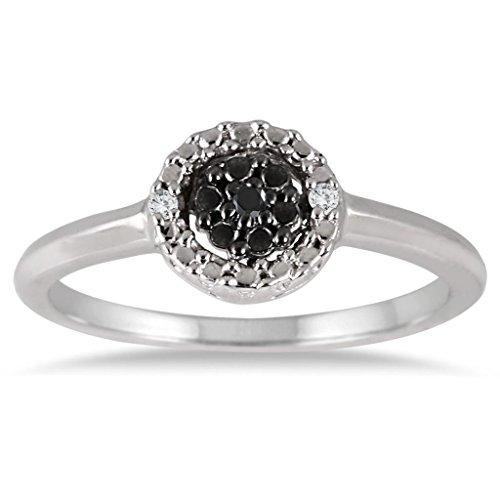 0.04 CTTW Sterling Silver White & Black Diamond Circle ring
