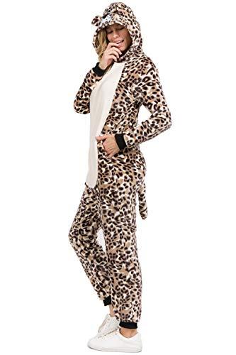Unisex Adult Pajamas Leopard Animal Onesie Costume (M/L, Plush -
