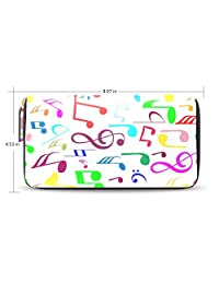 Womens Music Pattern Leather Long Wallet & Purse Case Card Holder