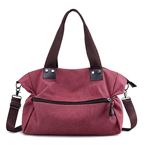 KARRESLY Women's Casual Hobo Shoulder Bags Canvas Daily Crossbody Tote Work Shopper Handbag Purses(Red) - Shopper Bag Canvas