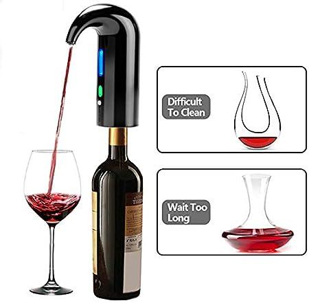JOQINEER Vertedor de aireador de Vino eléctrico, tapón Dispensador de Vino automático Multi-Inteligente - Vertedor de aireación de Primera Calidad y Pico decantador - conservante de Vino,Black