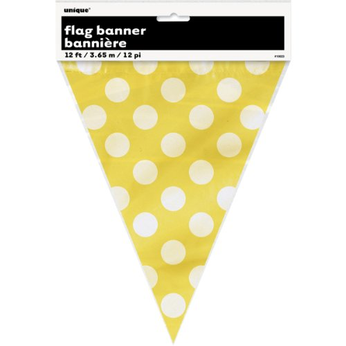 12ft Plastic Yellow Polka Dot Pennant (Bumble Bee Baby Bunting)