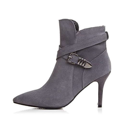 AllhqFashion Womens Spikes-Stilettos Pointed Closed Toe Blend Materials Low-Top Solid Zipper Boots Grey nx2XVpNb