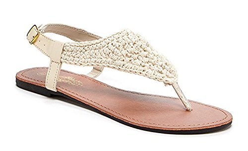 Orly Shoes Women's Bali Crochet Upper Sandal Flat Braided with Adjustable Ankle in Natrual Size: 10 Upper Flat Shoes
