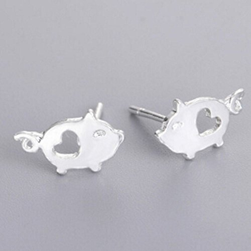 Napafashion Lovely Love Piggy Silver Girls Animal Fashion Women Jewelry Pig Gift Earrings by Nadeejewelry