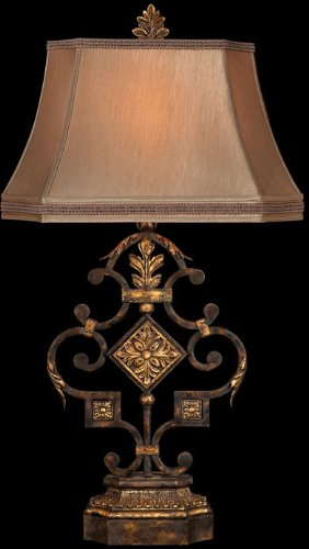 Castile Light 3 (Fine Art Lamps 230510, Castile Tall 3 Way Table Lamp, 1 Light, 150 Total Watts, Gold Leaf)