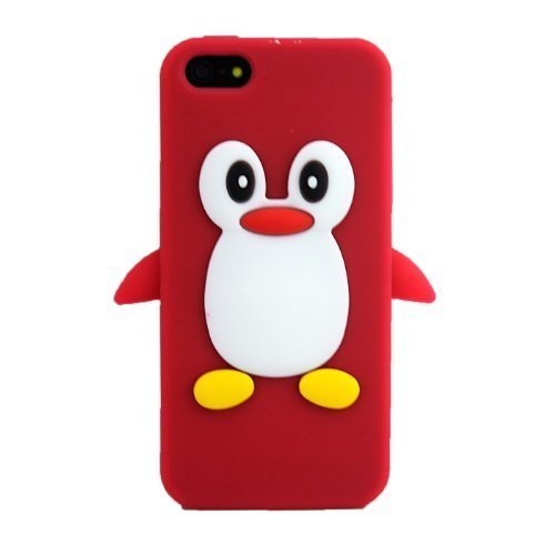 Apple iPhone 5 5S Pinguin Rot Schutz-Hülle Silikon Soft Case Schale Cover 3D thematys®