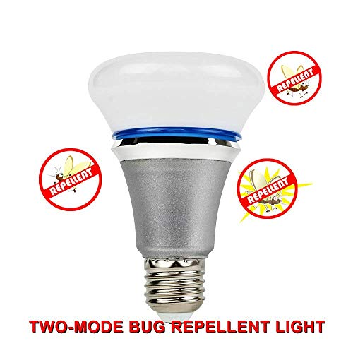 Yellow Light Bulb Bug Repellent (GLOUE Bug Zapper Upgraded Mosquitoes Repellent Lamp 40W Incandescent Equivalent Yellow LED Bulbs, Dual-Model with Normal White Light Non-Dimmable, 9w … (6W))