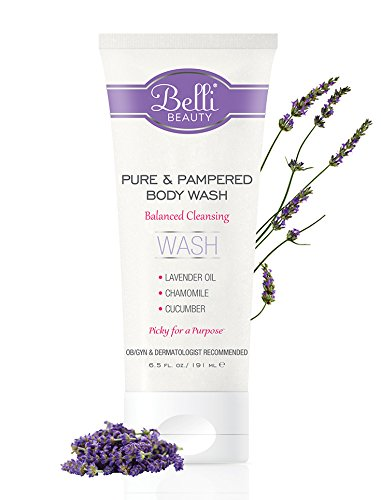 Beautiful Gel Body Wash - Belli Pure and Pampered Body Wash – Balanced Cleansing with Essential Oil of Lavender – OB/GYN and Dermatologist Recommended – 6.5 oz.