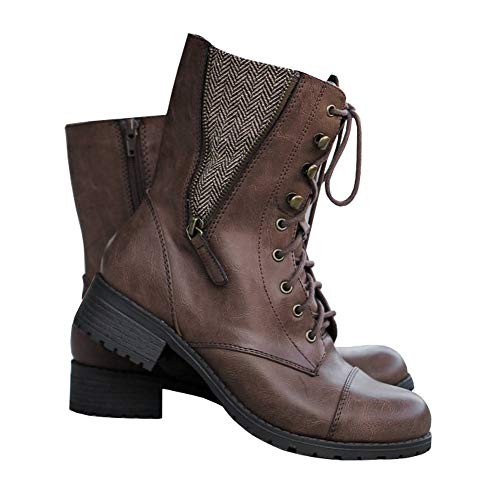FISACE Womens Winter Round Toe Military Lace Up Knit Ankle Cuff Low Heel Combat Boots Marten Boot Leather Boot Brown
