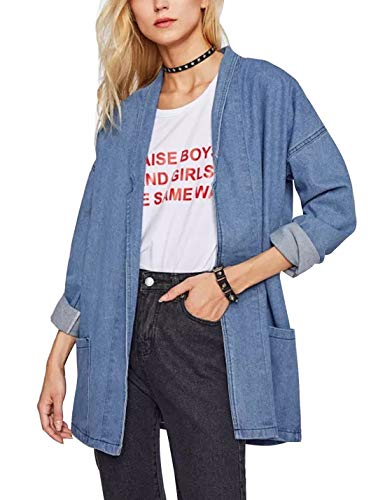 - Omoone Women's Oversized Boyfriend Open Front Denim Blazer Trucker Jackets Coat(Light Blue-One Size)