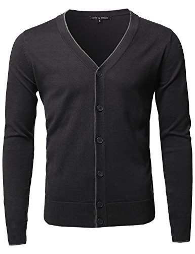 Solid Classic V-Neck Button Down Sweater Cardigan Black Size L