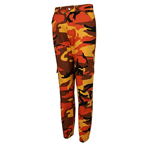 Fenteer Pour Camouflage Multi Pantalon Orange Femmes Imprimé Avec poches À wH01FqSxnH