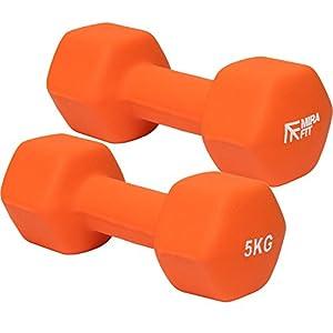 MiraFit Orangene Softtouch Mini-Hex-Kurzhanteln - Größenwahl