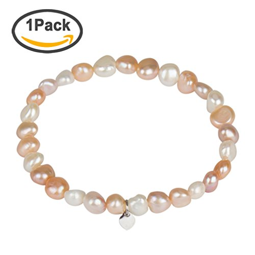 Freshwater Cultured Pearl Bracelet, YISSION Multicolor Natural Irregular Pearl Bracelet for Women Girls, 7-8MM, 7 Inches (White Pink) (Bracelet Elastic Of Pearl Mother)