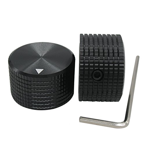 (Taiss/ 2pcs Black Aluminum Rotary Electronic Control Potentiometer Knob For 6 mm Diameter Shaft, Volume Control Knob, Audio knob, Guitar Knob,Electric Guitar Knobs, 25mm dia. x 15mm height)