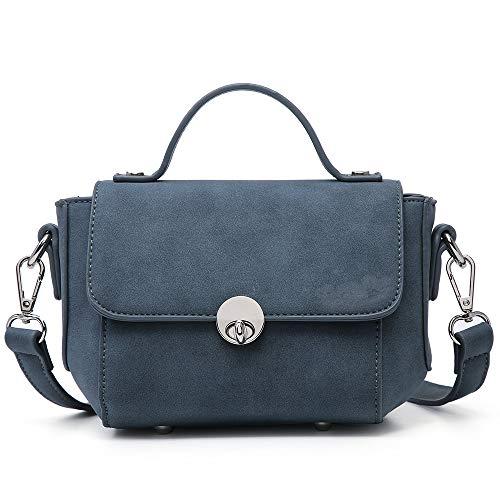Suede Mini Bag - SHOMICO Mini Crossbody Bag Small Tote Shoulder Purse Cell Phone Wallet Girls Ladies Women (Katy Blue)