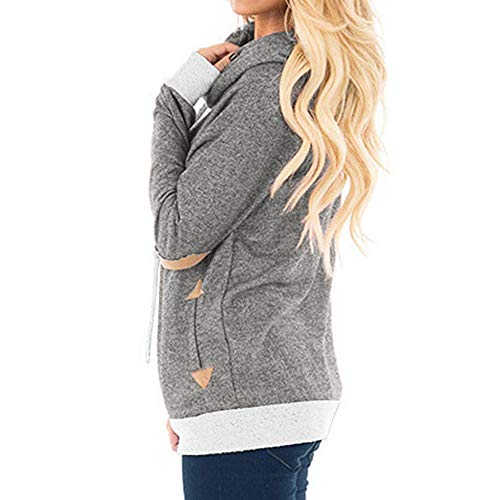 St.Dona Women's Long Sleeve Cowl Neck Tunic Sweatshirt Loose Tops Pockets ()