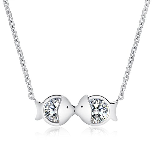 [Easter Pisces Necklace Zodiac For Lady Silver Plated Stainless Steel Pendant Cz Chain Fish Kissing 16 Inch Love] (Old Navy Halloween Costumes Elephant)