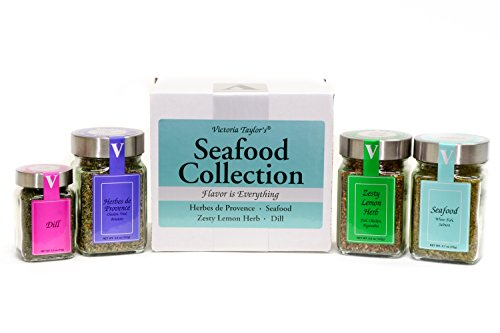 Seafood Collection - HERBES DE PROVENCE, ZESTY LEMON HERB, DILL, AND SEAFOOD BLEND. Adds flavor to white fish, salmon, shrimp, shellfish, stews and chowders. VICTORIA TAYLOR'S BY VICTORIA GOURMET.