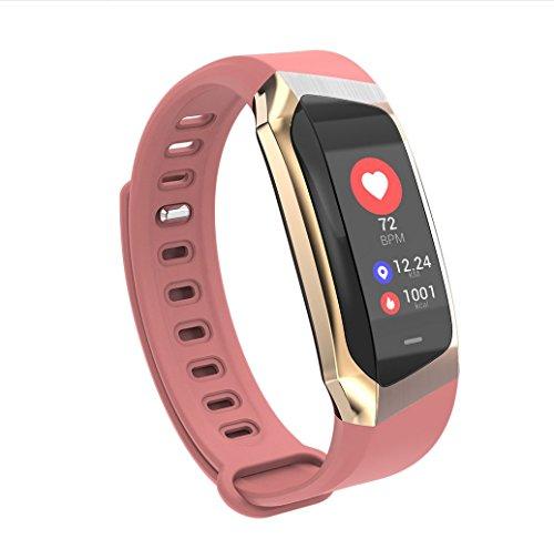 Fitness Tracker Activity Tracker Heart Rate Blood Lipid Oxygen Monitor Sleep Monitor GPS Track Calorie Counter Watch for Kids Female Men,Roseredbelt+Goldside by LJXAN