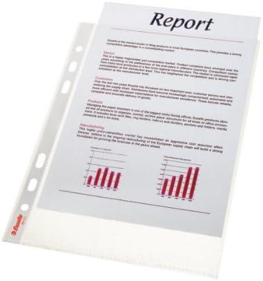 Esselte 47183 Standard - Funda para documentos (A5 14.8 x 21 cm, multiperforada, resistente, polipropileno, apertura superior, 25 unidades), transparente