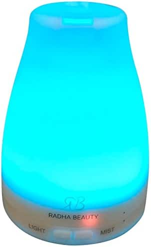 Radha Beauty Aromatherapy Essential Oil Diffuser 7 colors - 120 ml Portable Ultrasonic Cool Mist Aroma Humidifier with changing Colored LED Lights, Waterless Auto Shut-off and Adjustable Mist mode