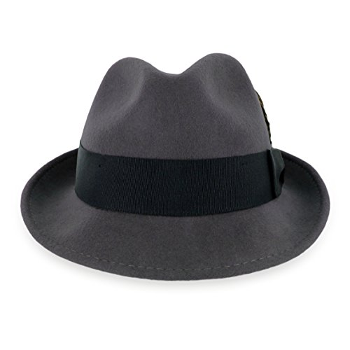 Belfry Trilby Men/Women Snap Brim Vintage Style Dress Fedora Hat 100% Pure Wool Felt Available In Black, Grey, Pecan (S, Grey) by Hats in the Belfry