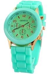 YKS Black Unisex Geneva Silicone Jelly Gel Quartz Analog Sports Wrist Watch (Mint Green)