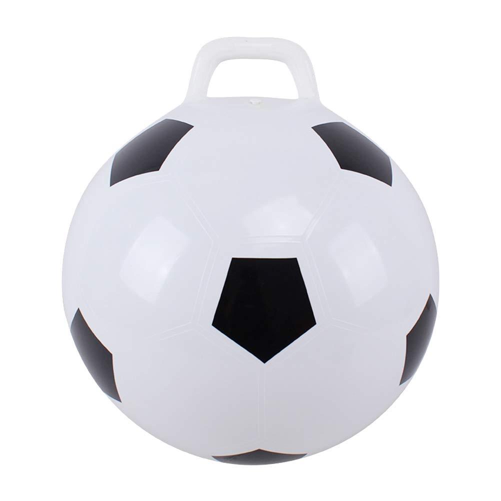 TOYANDONA Handle Ball Bounce Jumping Ball Inflatable Football Fitness Sports Kicking Ball for Kids (White)
