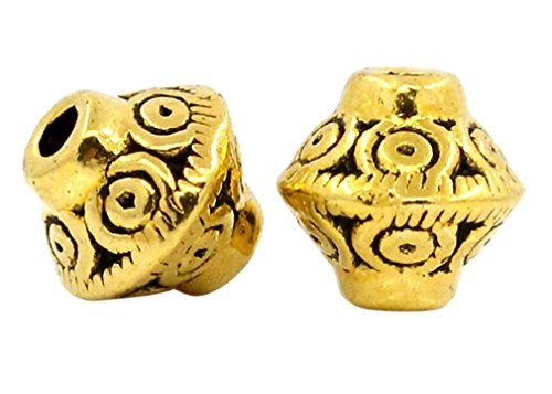 Bicone Antique - Souarts Antique Gold Color Bicone Shape Spacer Beads Pack of 100pcs