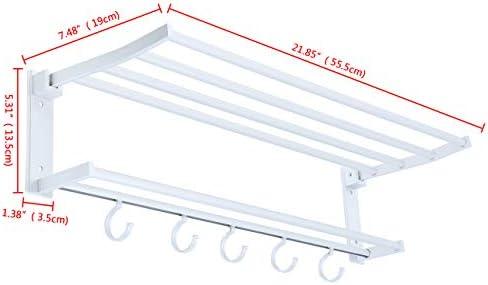 Youwise Towel Rail Holder Shelf Wall Mounted Home Bathroom Storage Rack with Hook