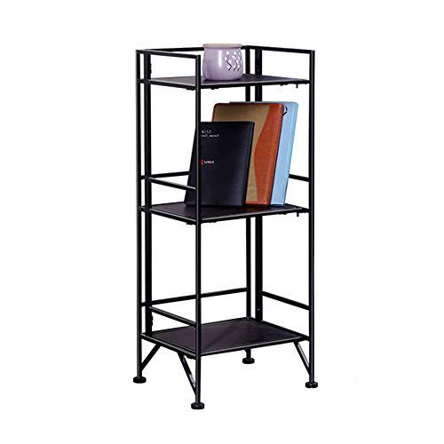 DENGS Multi-Functional Rack Foldable Floor-Standing Iron Art Portable Three Floors Household Living Room Storage Rack Wood Shelf Bookshelf/Black / 353081cm