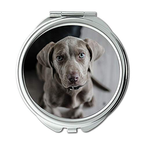 l Mirror,Weimaraner Puppy Dog Snout Animal Portrait,Pocket Mirror,Portable Mirror ()