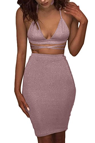 ioiom Womens Crop Top Midi Skirt Outfit Two Piece Bodycon Bandage Dress Pink L]()